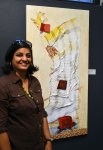 Sush and her artwork Leaving Home, The Art League Gallery, Alexandria, VA