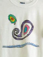 Detail from a t-shirt designed by children at summer camp